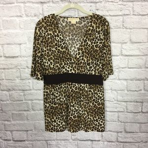 Michael Kors Leopard Print Top Tunic Brown Cream